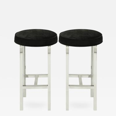 Pace Collection Pace Collection Pair of Bar Stools in Polished Stainless Steel 1968
