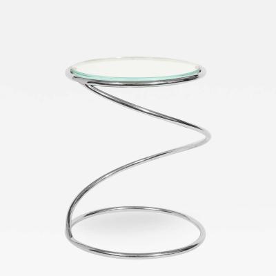 Pace Collection Pace Collection Swirl Table in Chrome and Star Fire Glass Top 1970s