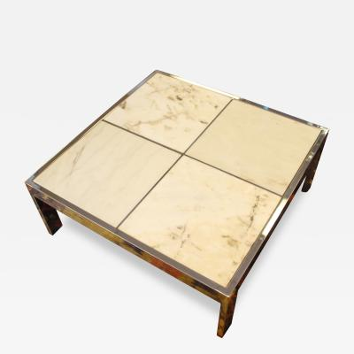 Pace Collection Pace Marble and Chrome Square Coffee Table