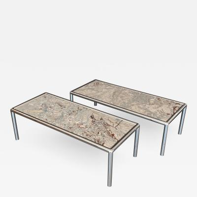 Pace Collection Pair of Pace Collection Chrome and Marble Coffee Tables