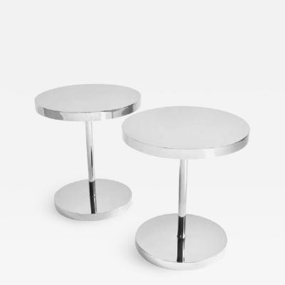 Pace Collection Pair of Polished Stainless Steel Side Tables