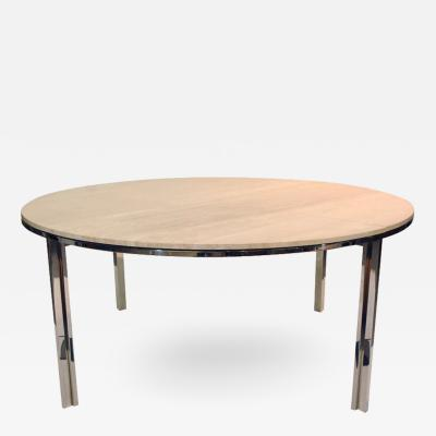 Pace Collection Polished Stainless and Travertine Dining Table 1960s by Pace Collection