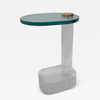 Pace Collection Side Table in Lucite Brass and Glass