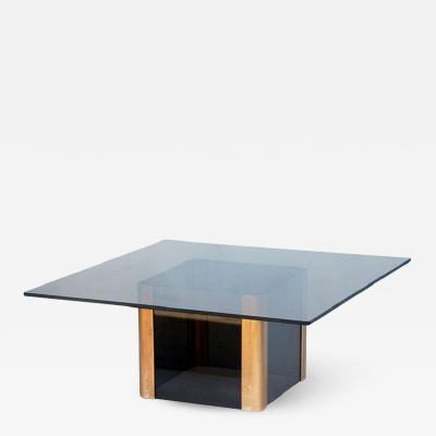 Pace Collection Sleek Smoked Glass and Brass Coffee Table by Pace