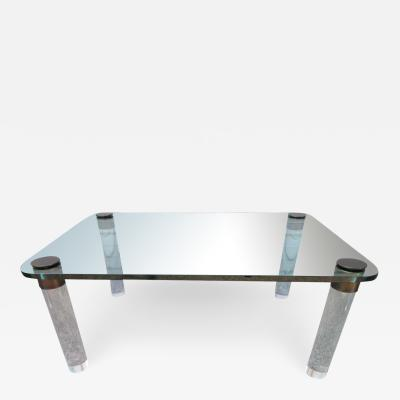 Pace Collection Stunning Lucite Bronze and Glass Cocktail Table Leon Rosen for Pace
