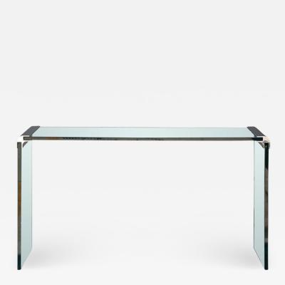 Pace Collection Thick Glass and Chromed Bronze Console by Pace