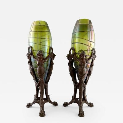 Palme K nig A pair of Art Nouveau Vases of irritated and frosted clear green glass