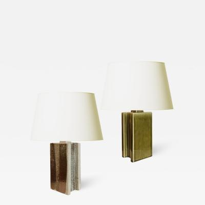 Palshus Duo of Brutalist Style Table Lamps by Palshus