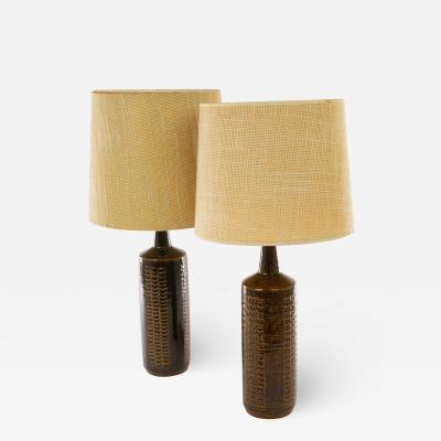 Palshus Pair of Brown DL 27 Table Lamps by Linnemann Schmidt for Palshus 1960s