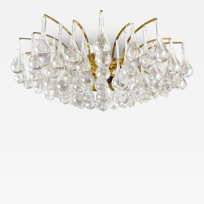Palwa Brass and Teardrop Crystal Chandelier by Palwa