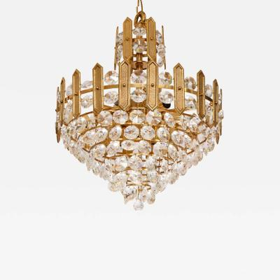 Palwa Embossed Brass and Crystal Chandelier by Palwa