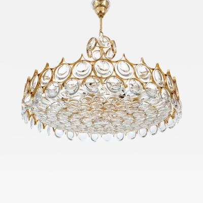Palwa Exceptional Gilt Brass and Glass Chandelier