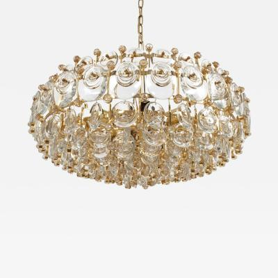 Palwa Exceptional Gilt Brass and Glass Chandelier Circa 1960