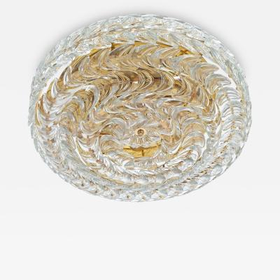 Palwa Exceptional Gilt Brass and Glass Flush Mount