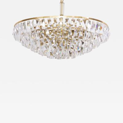 Palwa Extraordinary Huge Palwa Gilded Brass and Crystal Glass Chandelier
