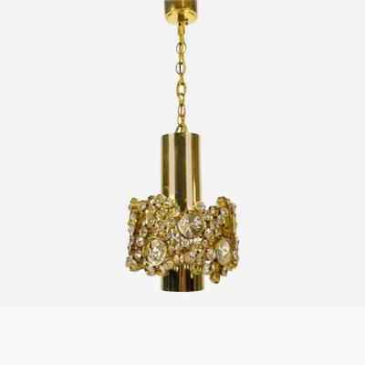 Palwa German Gilt Brass and Crystal Glass Chandelier from Palwa 1970s