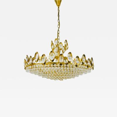 Palwa German Golden Gilded Brass and Crystal Glass Chandelier from Palwa 1960s