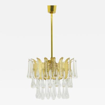 Palwa Gilded Brass and Crystal Glass Chandelier by Ernst Palme for Palwa