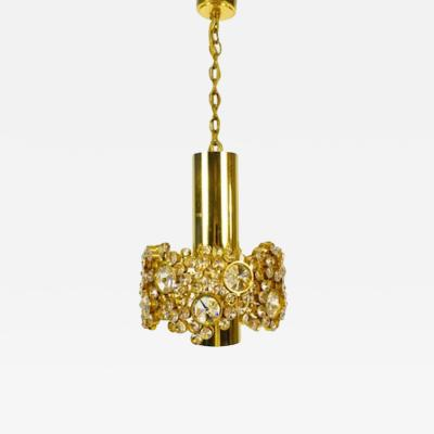 Palwa Gilded Brass and Crystal Pendant Lamp from Palwa 1960s