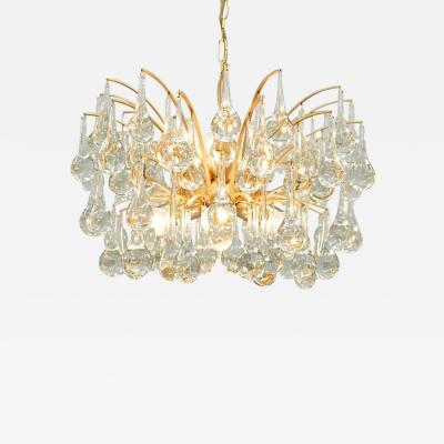 Palwa Gilded Brass and Glass Drop Chandelier Palwa 1960s