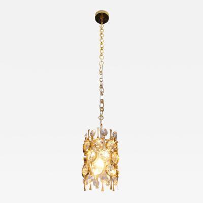 Palwa Gilt Brass Crystal Pendant Light by Palwa