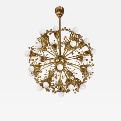Palwa Gilt Brass Sputnik Chandelier by Palwa