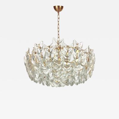 Palwa Gilt Brass and Glass Chandelier by Palwa