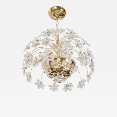 Palwa Gold Metal Flower Pot Form Crystal Chandelier attributed to Palwa