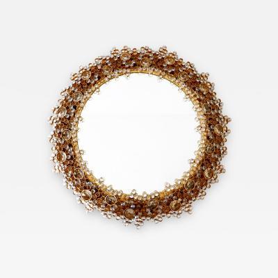 Palwa Gorgeous Gilt Brass Crystal Glass Backlit Wall Mirror by Palwa Germany 1970s