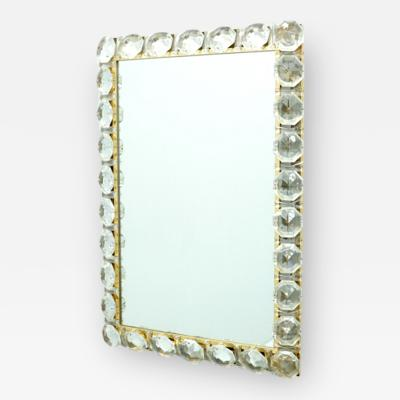 Palwa Illuminated Mirror in Brass and Crystal Glass by Palwa 1960s