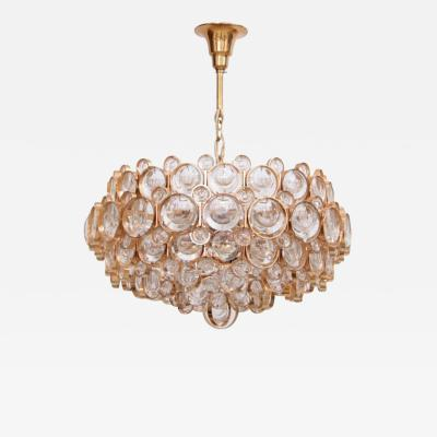 Palwa Outstanding Gilded Brass and Crystal Glass Chandelier by Palwa