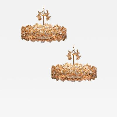 Palwa Outstanding Pair of Palwa Gilded Brass and Crystal Glass Encrusted Chandeliers