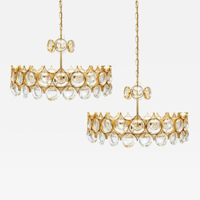 Palwa Pair of Gilt Brass and Glass Chandeliers 1960
