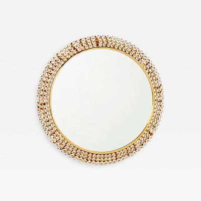 Palwa Palwa Back Lit Gilded Brass Mirror with Crystals