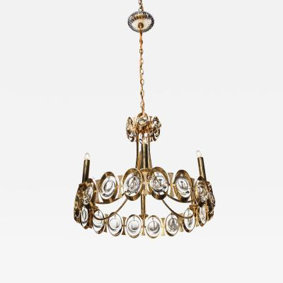 Palwa Palwa Brass Chandelier with Six Candlesticks and Dangling Crystals