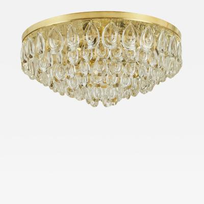 Palwa Palwa Brass Teardrop Crystal Flushmount Chandelier Two Available