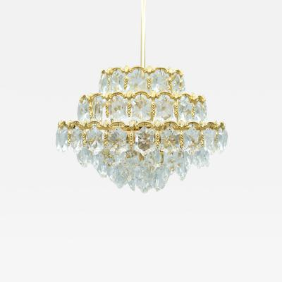 Palwa Palwa Crystal Glass and Brass Chandelier 1960s