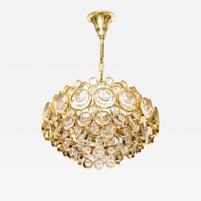 Palwa Palwa Gilt Brass Optic Glass Chandelier