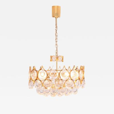 Palwa Stunning Gilded Brass and Glass Palwa Chandelier