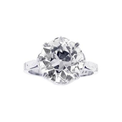 Pampillonia 3 94 Carat Antique European Cut Diamond Ring