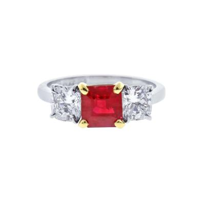 Pampillonia A G L Burma Ruby and Diamond Thee Stone Ring by Pampillonia
