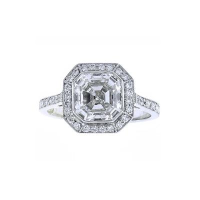 Pampillonia Asscher Cut Diamond Ring