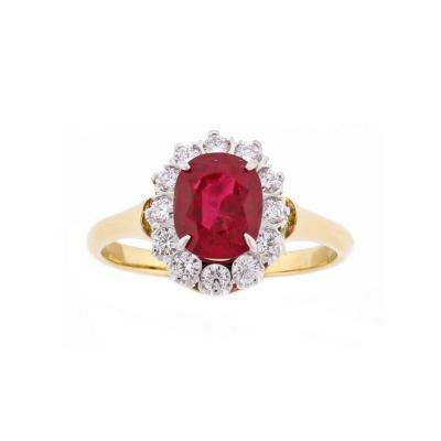 Pampillonia Burma No Heat A G L Ruby and Diamond Ring