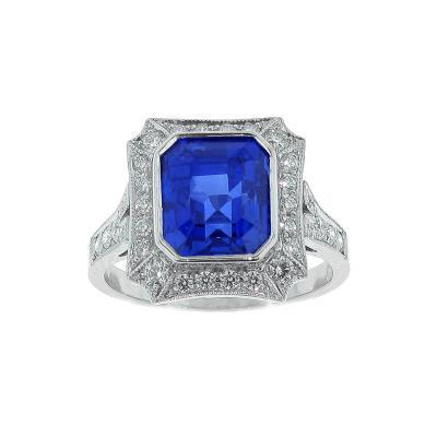 Pampillonia Burma Not Heat Sapphire and Diamond Ring