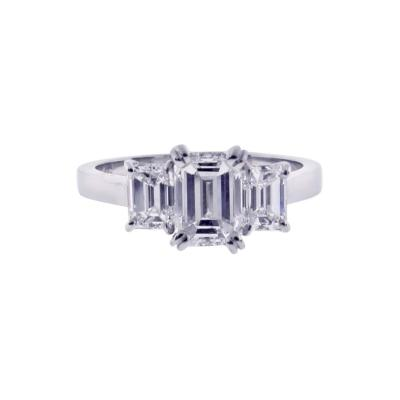 Pampillonia Emerald Cut Diamond Three Stone Ring