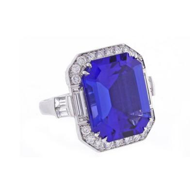 Pampillonia Emerald Cut Tanzanite and Diamond Ring Ring