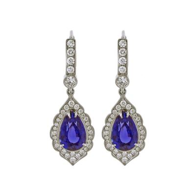 Pampillonia Exceptional Tanzanite and Diamond Earrings