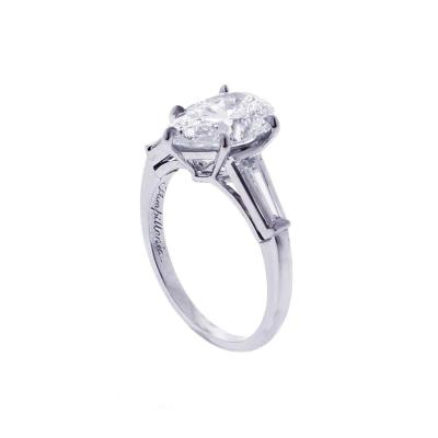 Pampillonia Flawless 2 54 Carat Pear Shape Diamond Ring