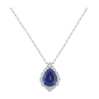 Pampillonia Handmade Pampillonia Jewelers Tanzanite and Diamond Necklace