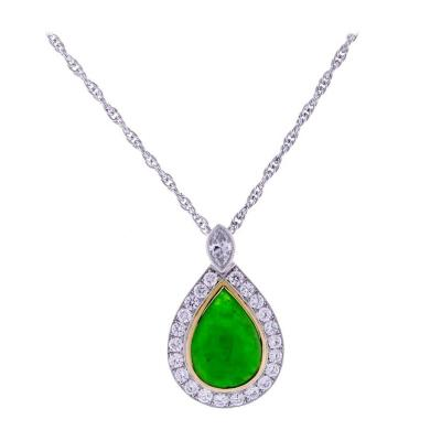 Pampillonia Jade Diamond Gold Platinum Pendant